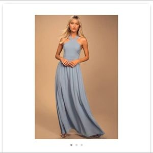 [Lulu's] Air of Romance Light Blue Maxi Dress Sm